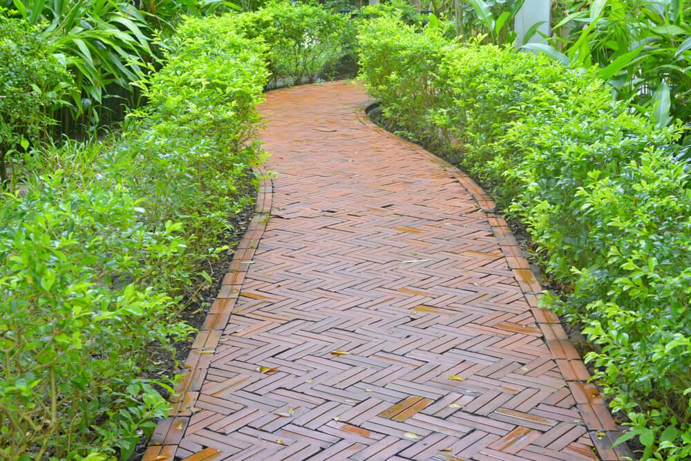 walkway made of brick pavers